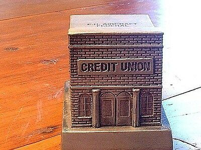 Vintage 1970's Cast Metal Still Bank Building EH Aircraft Fed. Credit Union