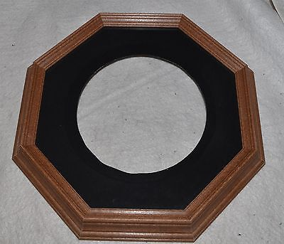 Collector Plate Frame 8 sided Octagonal Dark Wood Made in Canada