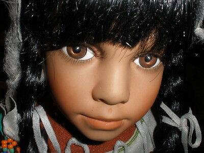 """PARADISE GALLERIES Purveyor of Fine Collectable Dolls-Native American 23"""" Doll"""