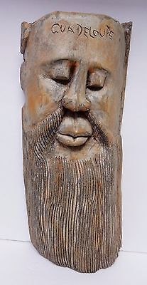 Antique VTG Hand Carved Wood Face Mask Guadelupe Mexico Folk Art Wall 15.5""