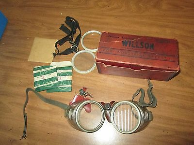 Vintage Willson Safety Goggles With Original Box Steampunk Mototcycle