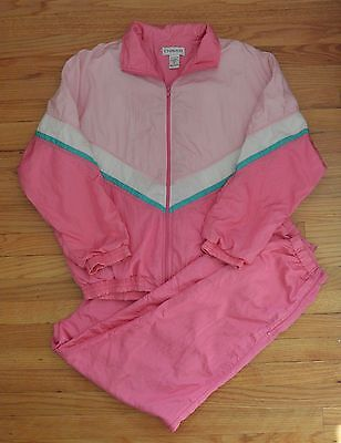Vtg 80s CHAVER Womens XL TRACK SUIT 2 Piece PINK Teal NYLON Jacket Pants Hip Hop