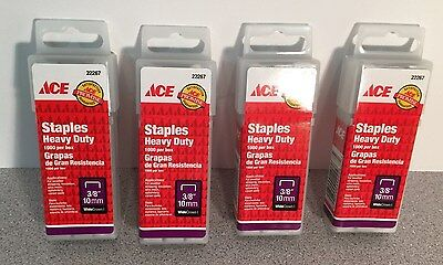 "FOUR Packs ACE Heavy Duty Staples Wide Crown 3/8"" 10mm-(@1000/Pack)-4000 total(X"