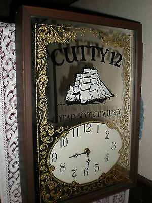 Vintage Cutty 12 Scotch Whisky Wood Frame Mirrored Advertising Wall Clock