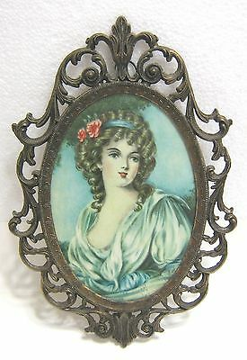 Antique Beautiful Woman in Period Dress & Hat Ornate Metal Frame Old Art Picture