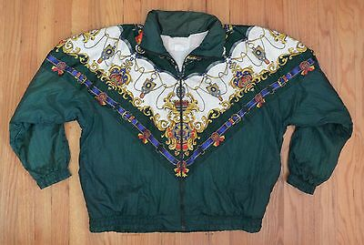 Vintage 80s Womens 1X TRACK SUIT JACKET 1 Piece Green NYLON Regal Crown Hip Hop