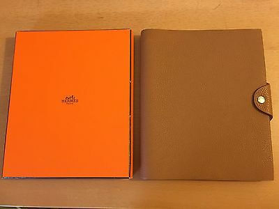 "New Hermes Ulysse  Mm  Notebook  In Togo Gold  Leather 9""x7.5"" With Extra Refill"