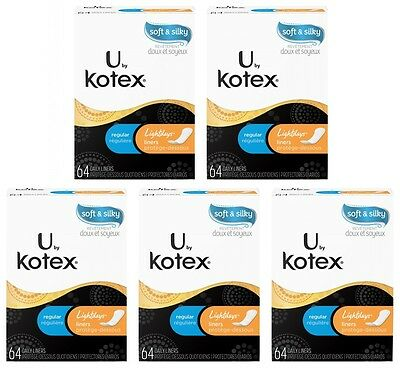 5x U by Kotex Soft & Silky Lightdays Regular Daily Liners, 64ct Each = 320 Total