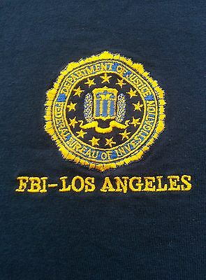 F.B.I. Los Angeles Embroidered Extra Large Navy Blue Shirt
