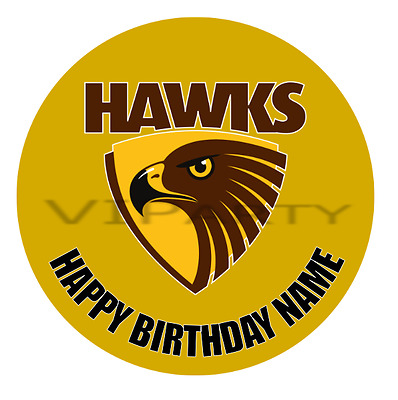 Hawthorn Hawks Personalised Edible Birthday Party Cake Decoration Topper Image