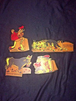 Vintage 1939 POST TOASTIES CEREAL CUT OUTS x4~Ferdinand The Bull~WDE