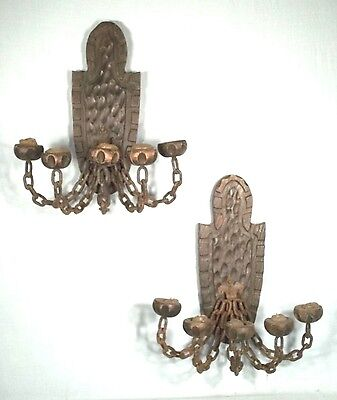 Pair Of Mid Century Spanish Wood+Iron 5 Arm Chain Link Candle Sconces