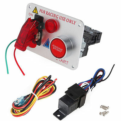 12V Racing Car Engine Start Push Button Ignition  LED Switch Panel Toggle Red