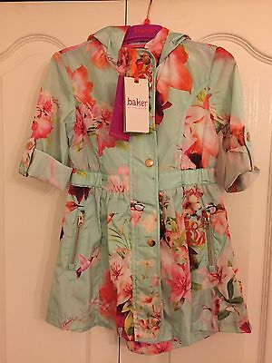 Ted Baker Girls Light Green Floral Mac Coat /  jacket. Bnwt. 5 Years. Designer.
