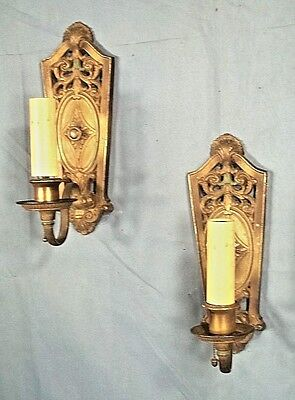 PAIR OF EARLY 20th CENTURY VICTORIAN ART NOUVEAU PAINTED CAST IRON SCONCES