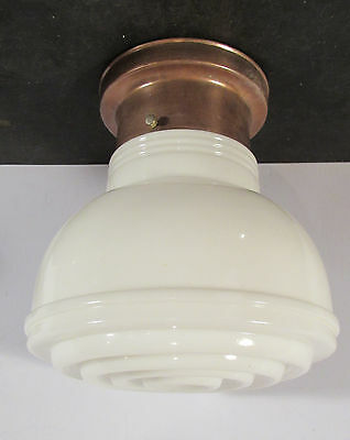 "Antique vtg Art Deco 4"" fitter light fixture opal glass shade rewired copper"
