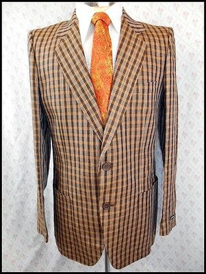 Brown Plaid Linen Alfredo Fusaro Italian Made Summer Weight Jacket 36 Like New!