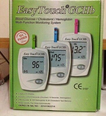 EasyTouch for Glucose Cholesterol Hemoglobin 3in1 Monitoring system+Free Lancets