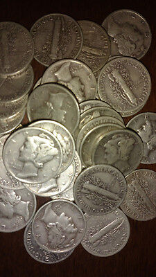 .10c FACE MERCURY DIME 90% SILVER CIRCULATED US COINS FROM ROLL 1 BID=1 DIME