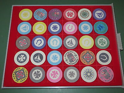 Nice Lot of 30 Collectible Poker Chips with Lindner Display Case Holder Rack