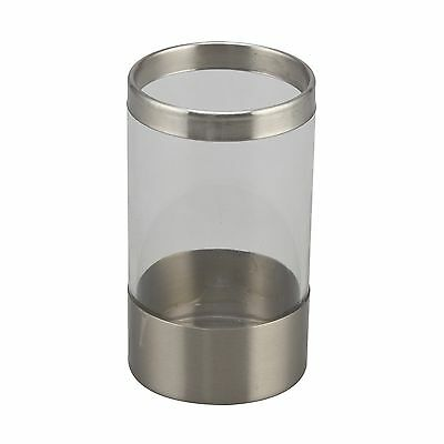 Boutique ELLE STAINLESS STEEL & ACRYLIC BATHROOM TUMBLER Stylish, Silver & Clear