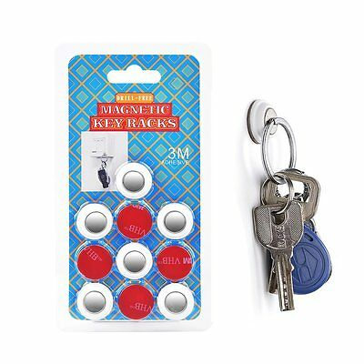 New 6pcs 3M Wall Glue Strong Magnetic Key Holder Key Ring Magnet Hook Rack