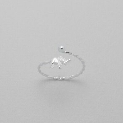 TJS 925 Sterling Silver Elephant Design Twist Band Toe Ring Adjustable Jewellery
