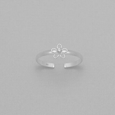 925 Sterling Silver Hollow Flower Design Toe Ring Adjustable  Body Jewellery