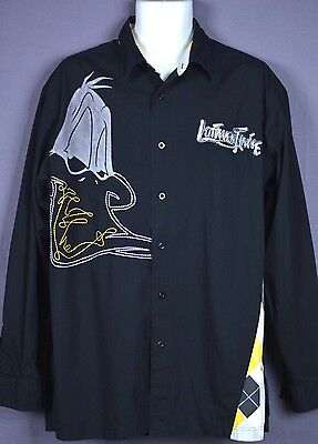 Vintage Lot29 Looney Tunes Daffy Duck Shirt Black Button Front SIZE XL