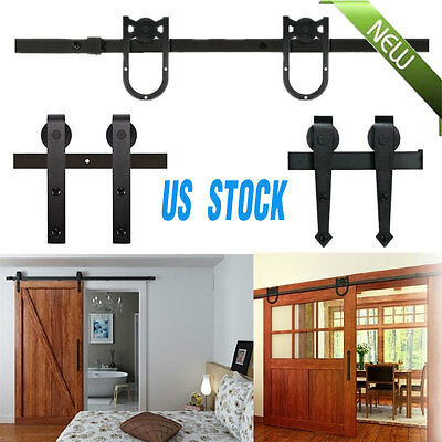 5~12Ft Rustic Steel Interior Sliding Barn Wood Door Hardware Track Set Kit AX
