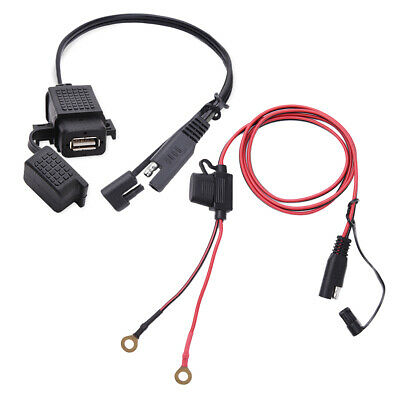 2.1Amp Waterproof Motorcycle USB Charger Kit SAE to USB Adapter Battery Tender