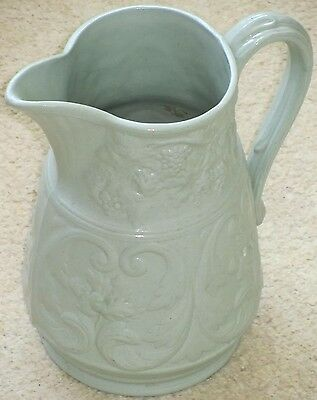 Victorian Parian Ware 'vine design' Jug in pale green.