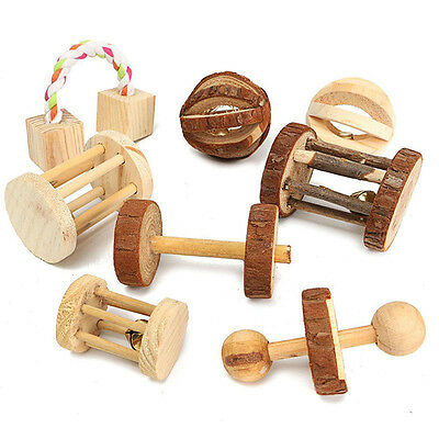 Rat Rabbit Dogs Pet Chew Play Wood Toy Natural Pine Dumbell Unicycle Bell Roller