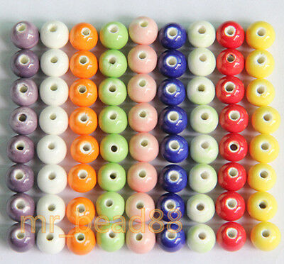 Wholesale Round Ceramic Porcelain Candy Color Charms Loose Beads 8mm NEW