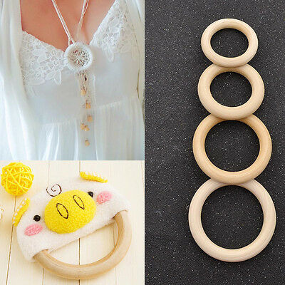 10 Pcs Wooden Circle Rings DIY Pendant Connectors Jewelry Craft Supplies