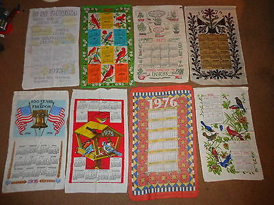 Hanging Calendar Linen Towels (8) 1970's Illustrated Wall Country Decorations #4