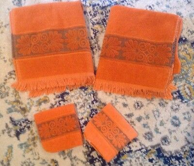VTG Burnt Orange Monticello Cannon Bath Towels Wash Cloths Shell Fringe Set Of 4
