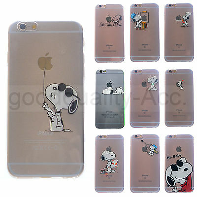 Snoopy Funda TPU Transparente de dibujos animados Para Apple iPhone 5 5S SE 6S