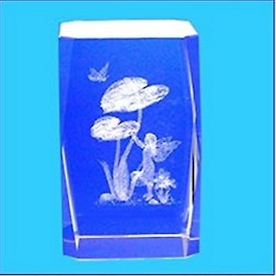 3D Laser Engraved Optical Crystal ~ FLOWER FAIRY HOLDING CLOVER BUTTERFLY