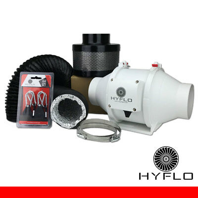 HyFlo 4 Inch / 100mm Carbon Filter Exhaust Ventilation Kit Odour Control Combo