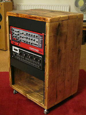 "16u 19"" rack unit made from reclaimed wood"