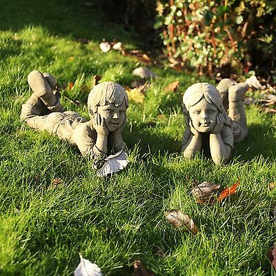 Lying Boy and Girl Statue Bespoke Stone Garden Ornament Home Cast Sculpture Gift