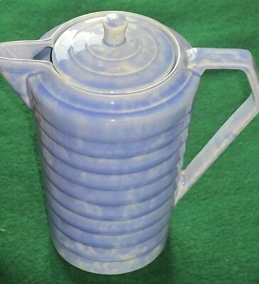 Beautiful blue and white flecked Wadeheath coffee pot. C 1930.