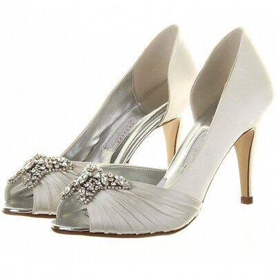 Firefly by Rainbow Club Ivory Satin Peep Toe Wedding or Occasion Shoe RRP £110