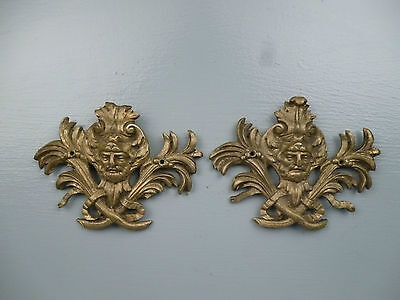 Pair Antique Gilt Bronze Furniture Mounts - Ormolu Victorian Hardware #1 VR