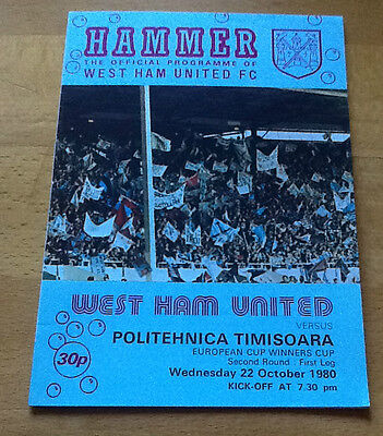 West Ham V Politechnica 22/10/1980 European Cup Winners Cup