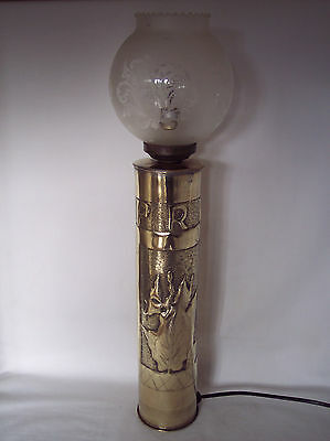 """WW1 Trench art lamp """"YPRES"""" fashioned from USA shell dated 1917."""