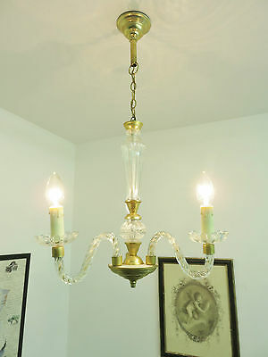 Superb Vintage Murano Style Glass Chandelier Light Lamp 3 Arms