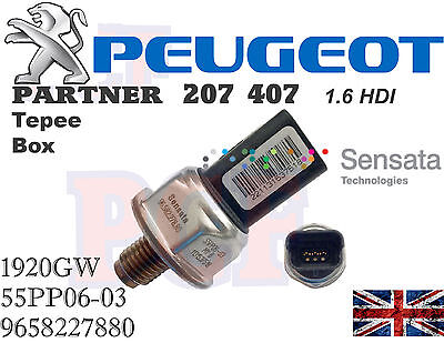 Genuine Sensore Pressione Carburante Common Rail PEUGEOT Berlingo 207 407 1.6HDI