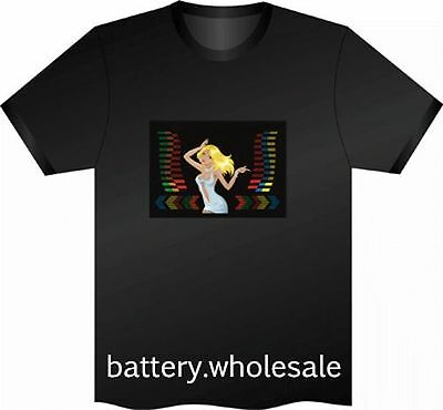 20 Music Sound Activated LED T-Shirt Party Girl with FREE batteries Pub Clubbing